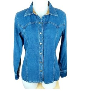 Western jeans snap button shirt size medium